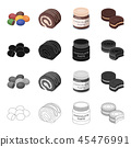 Dessert dragee, chocolate roll, chocolate pasta, puff pastry. Dessert set collection icons in 45476991