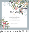 Vector illustration of floral frame with a bird 45477175