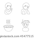 A sneezing man, a boy with a handkerchief, a patient with a headache, a hot broth, a drink in a 45477515