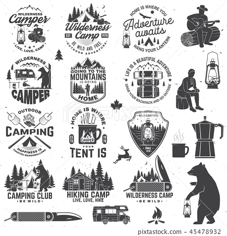 Wilderness camp. Be wild and free. Vector. Concept for badge, shirt or logo, print, stamp, patch 45478932