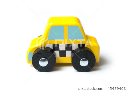 miniature car on white background - concept taxi 45479408