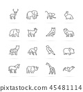 animal vector line icons 45481114