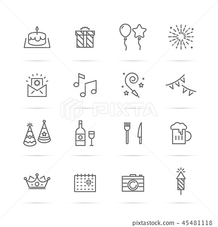 birthday party vector line icons 45481118