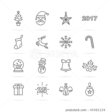 christmas 2017 vector line icons 45481134
