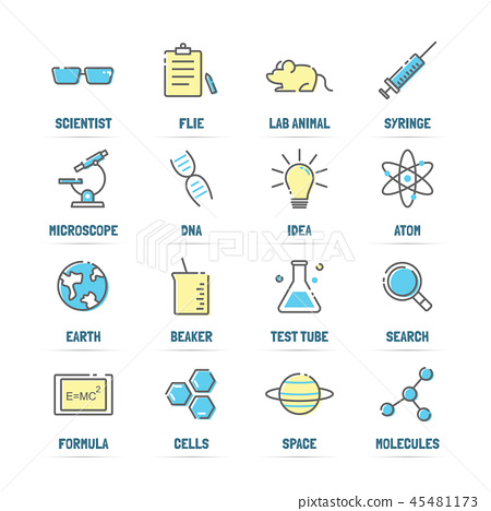 science vector line icons with flat colors 45481173