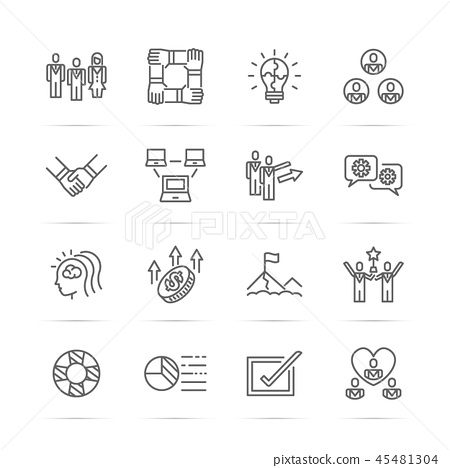 teamwork vector line icons 45481304