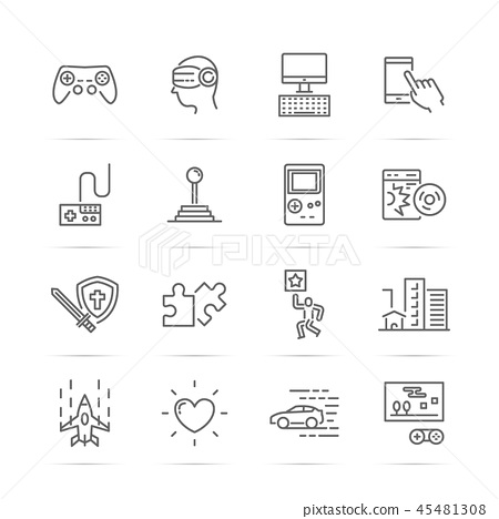video game vector line icons 45481308