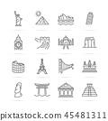 world landmarks vector line icons 45481311