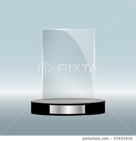 Empty glass award isolated, transparent trophy template. Vector element, eps10 45485938