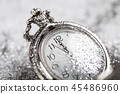 Old silver watch closeup 45486960