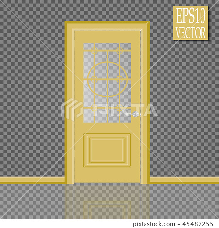 Vector White Closed Door with Frame Isolated on Background 45487255