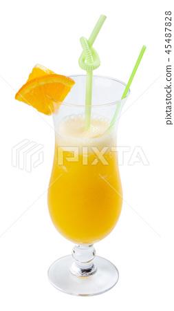 orange juice in tall glass 45487828