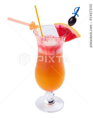 tequila sunrise cocktail in a tall glass 45487830