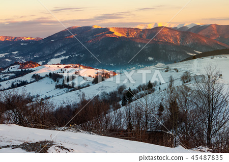 winter countryside of Carpathian mountains 45487835