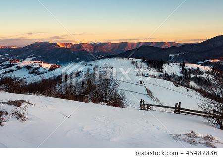 winter countryside of Carpathian mountains 45487836
