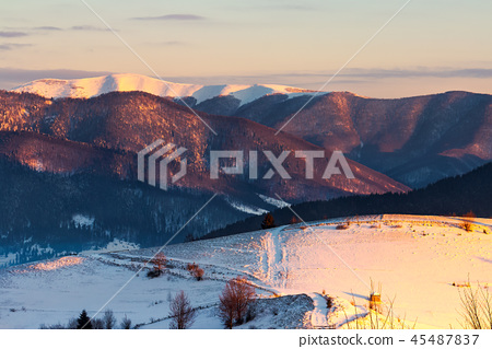 winter countryside of Carpathian mountains 45487837