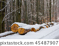 wooden logs in snow by the road through forest 45487907