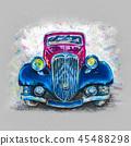 Pastel drawing retro car 45488298