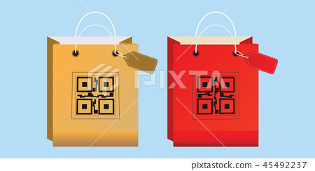 Shopping bag icons with QR code. 45492237