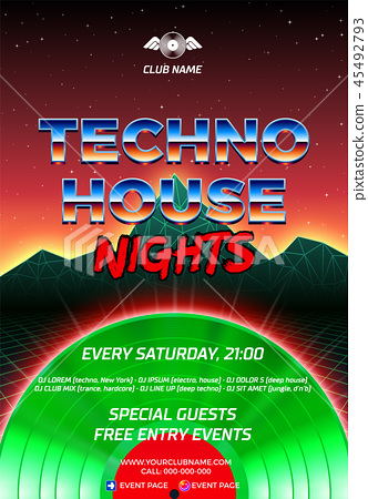 80s party poster with orange background and green vinyl lp for house and techno retro rave 45492793