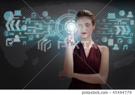 Pretty woman with virtual technology 45494779