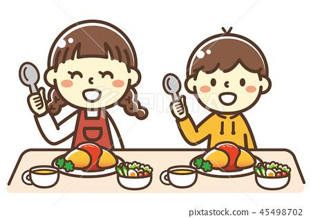 孩子吃煎蛋捲飯 45498702