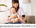 mother, baby, selfie 45499114