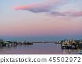 새벽 쿠시로 강 어선 45502972