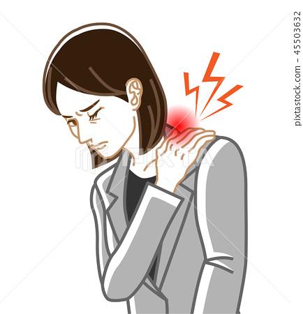 어깨 결림 - 건강 문제 여성 정장 선화 45503632