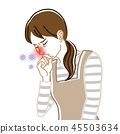 Rhinitis-health problems woman housewife line drawing 45503634