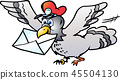 A Post Pigeon flying with a Letter 45504130