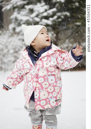 嬰兒,兒童,嬰兒,嬰兒,冬天,韓國 45504351