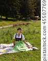 Young girl Bavarian traditional dressed. 45507769