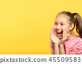 smiling girl talk pretend megaphone announcement 45509583