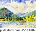 Watercolor pontoon cottage and river in mountain 45514007