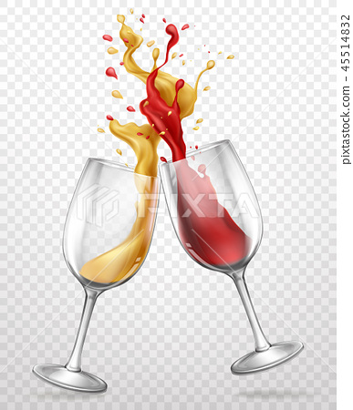 Glass goblets with splashing wine realistic vector 45514832