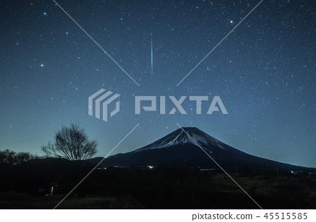 雙子座流星雨,富士山和流星 45515585