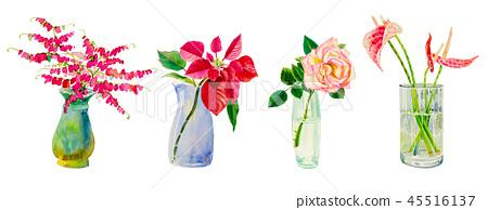 Set flowers in vases glass. 45516137