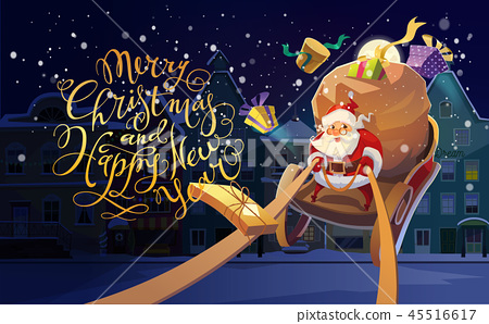 Christmas Card. Christmas background with Santa driving his sleigh and gives presents and gifts 45516617