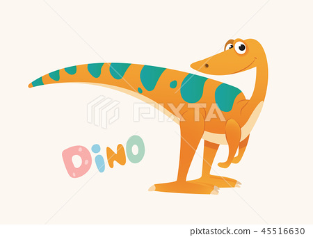 Cute Orange and Green Cartoon Baby Dino. Bright Colorful dinosaur. Childrens illustration. Isolated 45516630