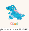 Cute Blue Cartoon Baby Dino. Bright Colorful dinosaur. Childrens illustration. Isolated. Vector 45516633