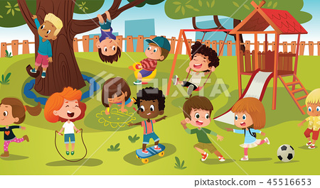 Group of kids playing game on a public park or school playground with with swings, slides, skate 45516653