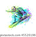 Abstract snowboarder from a splash of watercolor 45520196