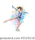 Abstract winter sport Figure skating girl from splash of watercolors. Winter sport 45520216