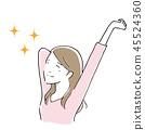 女人伸直簡單的手繪風格 45524360