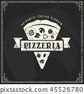 pizza, drawing, vector 45526780