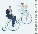 Wedding invitation card with couple on bike 45527699