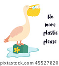 Eco poster. Pelican and waste inside the beak 45527820