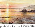 Onuma National Monument Kokagatake watercolor Hokkaido sketch Sunset sun Asahi 45529084
