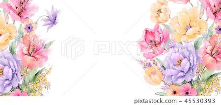 優雅的水彩玫瑰和牡丹花卉 45530393